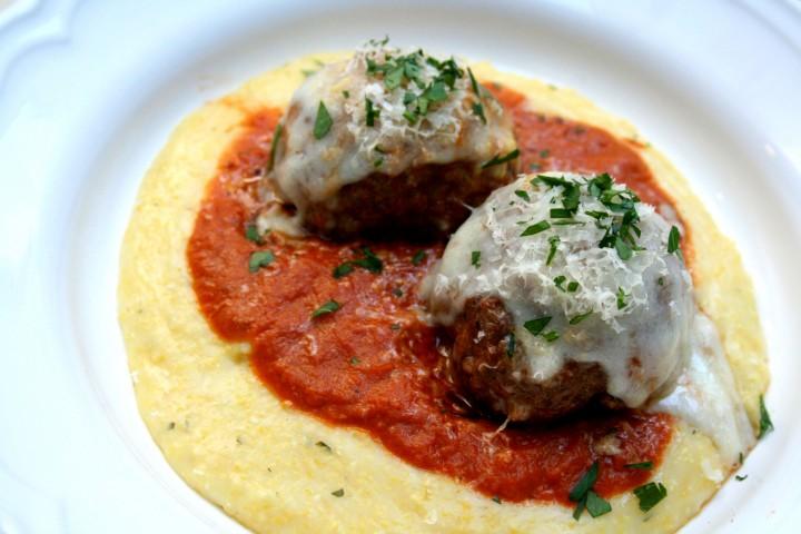 Meatballs on Polenta